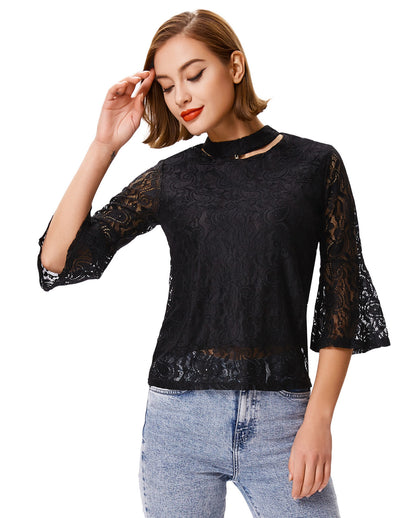 Grace Karin Women's Black Cropped Flared Sleeves Choker Sexy Lace Tops
