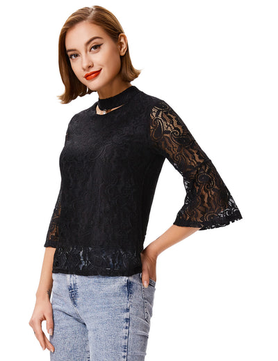 Women's Cropped Flared Sleeves Choker Sexy Lace Tops