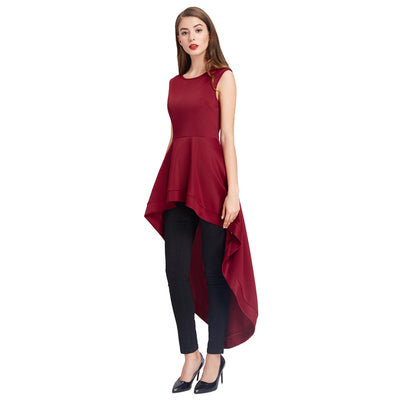 Black and Wine Red Sleeveless Irregular High-Low Dress
