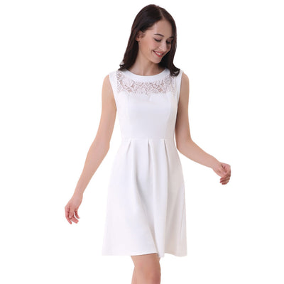 Ivory and Black Lace Patchwork Party Dress With Pockets