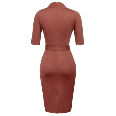 Dark Grey and Wine Red 1/2 Sleeve Pencil Dress With Belt