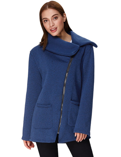 Grace Karin Women's Winter Warm Long Sleeve Lapel Collar Soft Knitting Outerwear Coat_Navy Blue