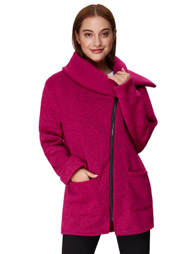 Grace Karin Women's Winter Warm Long Sleeve Lapel Collar Soft Knitting Outerwear Coat_Deep Pink