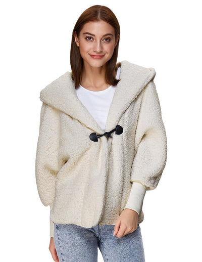 Grace Karin Women's Ivory Long Batwing Sleeve Faux Fur Hooded Coat Outerwear Tops