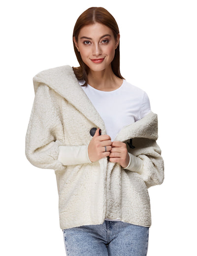 Ivory Warm Long Batwing Sleeve Hooded Outerwear Coat Tops