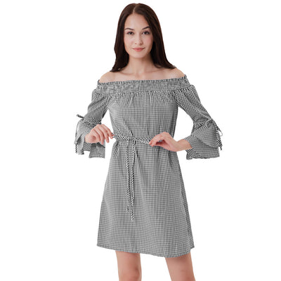 GK Sexy Women's 3/4 Bell Sleeves Off Shoulder Straight Neckline Plaid Dress