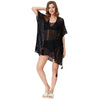 Grace Karin Women's Summer Loose Side Split High-Low High Stretchy Free Size Swimwear Cover-up Dress _Black