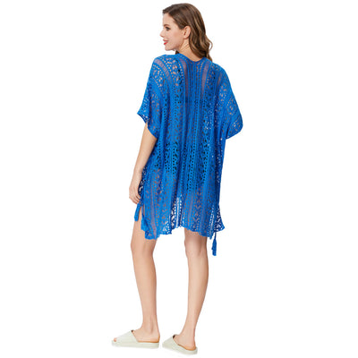 Grace Karin Women's Summer Loose Side Split High-Low High Stretchy Free Size Swimwear Cover-up Dress _Blue