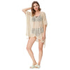 Grace Karin Women's Summer Loose Side Split High-Low High Stretchy Free Size Swimwear Cover-up Dress _Beige