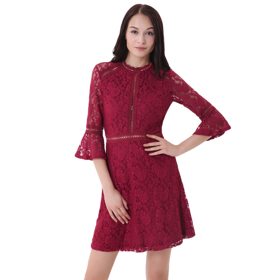 0f03b5a0533 3 4 Bell Sleeve Half High-Neck A-Line Lace Party Dress