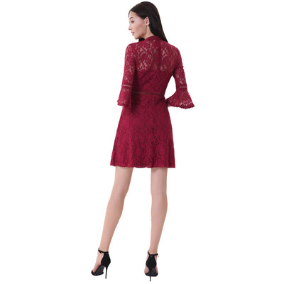 3/4 Bell Sleeve Half High-Neck A-Line Lace Party Dress