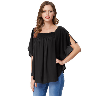 Grace Karin Women's Black Summer Casual Loose 2-Layers Square Neck Chiffon Tops