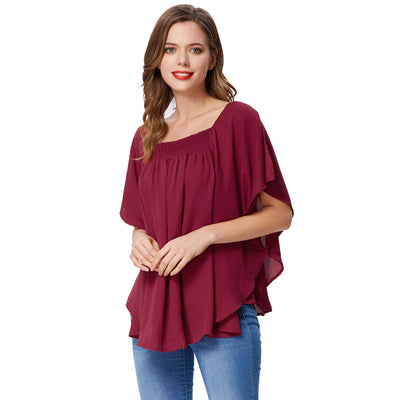 Grace Karin Women's Wine Red Summer Casual Loose 2-Layers Square Neck Chiffon Tops
