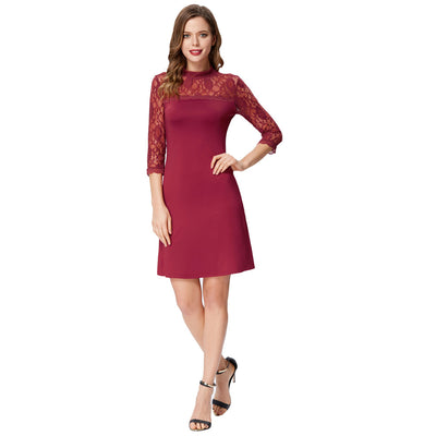 Grace Karin Women's Wine Red High Stretchy 3/4 Sheer Sleeves Half High Neck A-Line Dress