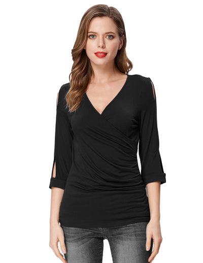 Grace Karin Women's Black Comfy 3/4 Sleeve V-Neck Wrap Front High Stretchy Modal T-Shirt Tops