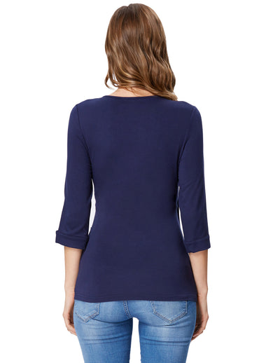 Grace Karin Women's Navy Blue Comfy 3/4 Sleeve V-Neck Wrap Front High Stretchy Modal T-Shirt Tops