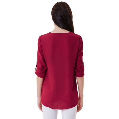 Wine Red Summer Long Roll Tab Sleeves V-Neck Chiffon Tops
