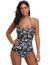Women's Sexy Hollowed Front Halter Teddy Leotard Swimwear