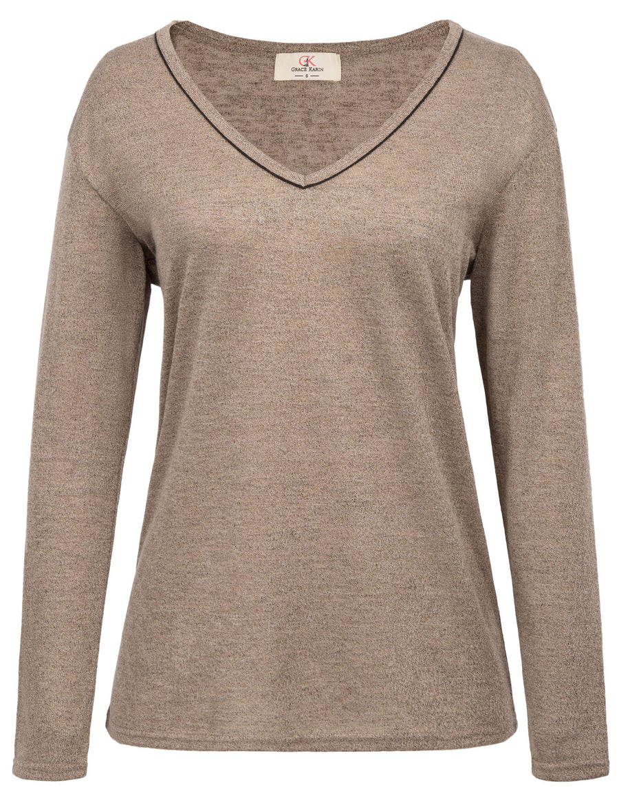 5a397f6e13dfe3 GK Women s Casual Loose Long Sleeve V-Neck Pullover Knitting T-Shirt ...