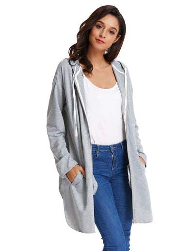 Grace Karin Women's Long Sleeve Side Split Hooded Polyester Coat Top_Light Grey