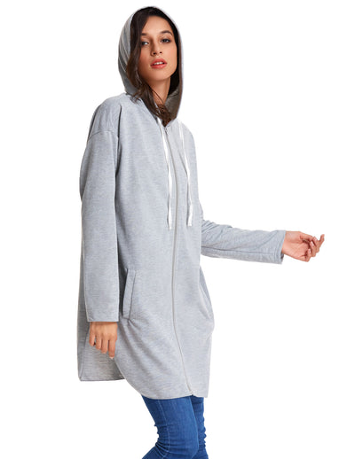 Casual Long Sleeve Side Split Hooded Polyester Coat Tops with Full Zipper