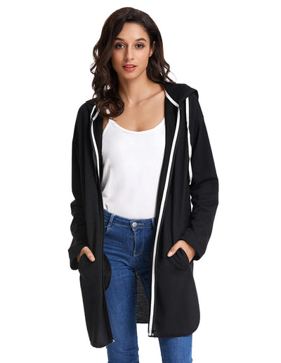 Grace Karin Loose Long Sleeve Side Split Hooded Coat Tops With Two Open Side-entry Pockets_Black