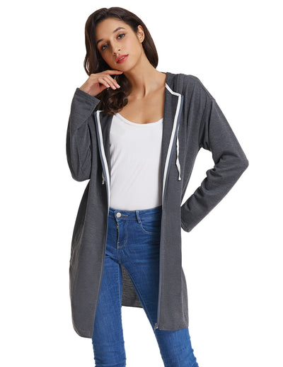 Grace Karin Women's Long Sleeve Side Split Hooded Polyester Coat Top_Dark Grey