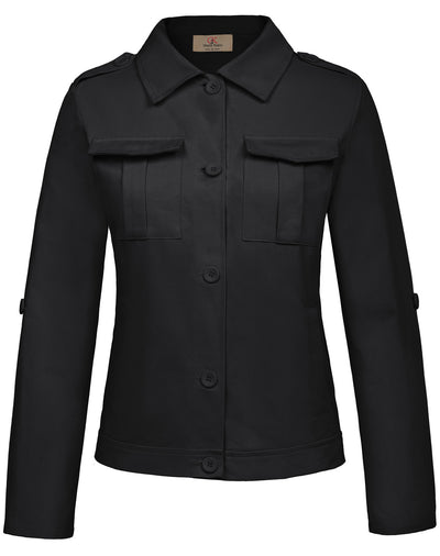 GK Women's Stylish Long Sleeve Lapel Collar Cotton Cargo Jacket Coat