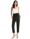 Grace Karin Women's Casual Slim Fit Elastic Waist Cropped Pants Trousers_Black