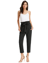 Load image into Gallery viewer, Grace Karin Women's Casual Slim Fit Elastic Waist Cropped Pants Trousers_Black
