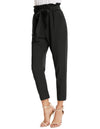 Women's Casual Slim Fit Elastic High Waist Cropped Pants Trousers
