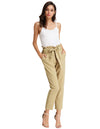 Grace Karin Women's Casual Slim Fit Elastic Waist Cropped Pants Trousers_Khaki