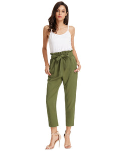 Grace Karin Women's Casual Slim Fit Elastic Waist Cropped Pants Trousers_Army Green