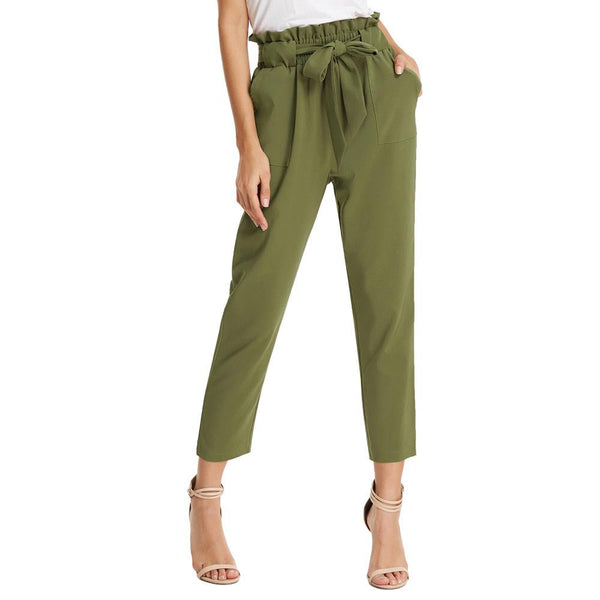 Women's Cropped Paperbag Waist Pants with Pockets - PRESALE