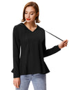 Grace Karin Women's Black Long Sleeve V-Neck Flared Hem Casual Coat Tops