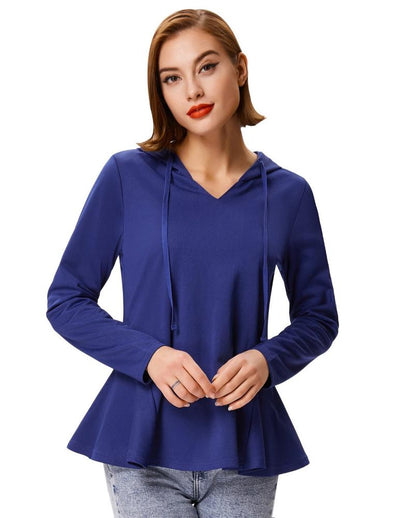 Grace Karin Women's Blue Long Sleeve V-Neck Flared Hem Casual Coat Tops