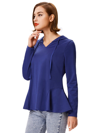 Women's Casual Blue and Black Long Sleeve Flared Coat Tops