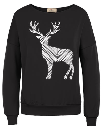 Grace Karin Women's Black Warm Long Batwing Sleeve Crew Neck Vibrant Milu Deer Pattern Ribbed Casual T-Shirt Tops with Brushed inside