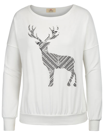 Grace Karin Women's Ivory Warm Long Batwing Sleeve Crew Neck Vibrant Milu Deer Pattern Ribbed Casual T-Shirt Tops with Brushed inside