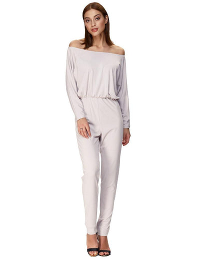 Grace Karin Sexy Women's Long Batwing Sleeves Off the Shoulder Jumpsuit _Lavender Blush