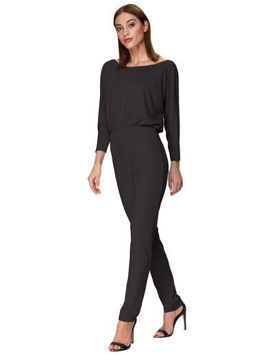 Grace Karin Sexy Women's Long Batwing Sleeves Off the Shoulder Jumpsuit _Black