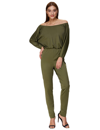 Grace Karin Sexy Women's Long Batwing Sleeves Off the Shoulder Jumpsuit _Army Green