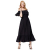 GRACE KARIN Women's Black Sleeveless Off the Shoulder Two-Layers Ruffled Neck Elastic Waist Rayon Maxi Dress with ultra soft & comfortable rayon fabric