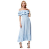 GRACE KARIN Women's Light Blue Sleeveless Off the Shoulder Two-Layers Ruffled Neck Elastic Waist Rayon Maxi Dress with ultra soft & comfortable rayon fabric