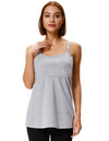 Grace Karin Grey Maternity Comfortable Cotton Nursing Breastfeeding Spaghetti Straps Flared Cami Tops