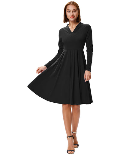 Grace Karin Women's Solid Color Long Sleeve V-Neck Pleated A-Line Dress_Black