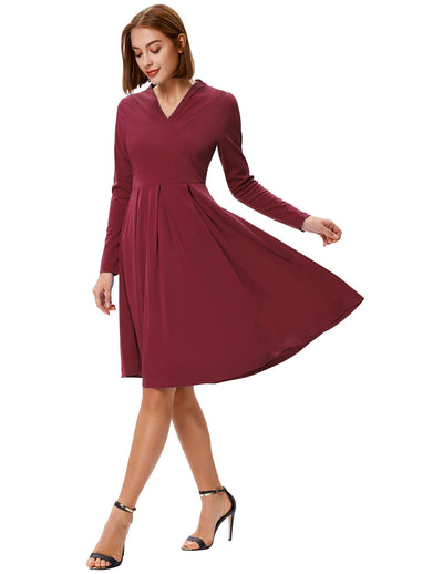 Grace Karin Women's Solid Color Long Sleeve V-Neck Pleated A-Line Dress_Wine Red