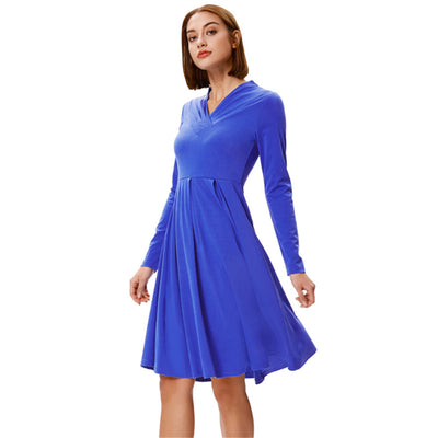 Grace Karin Women's Solid Color Long Sleeve V-Neck Pleated A-Line Dress_Blue
