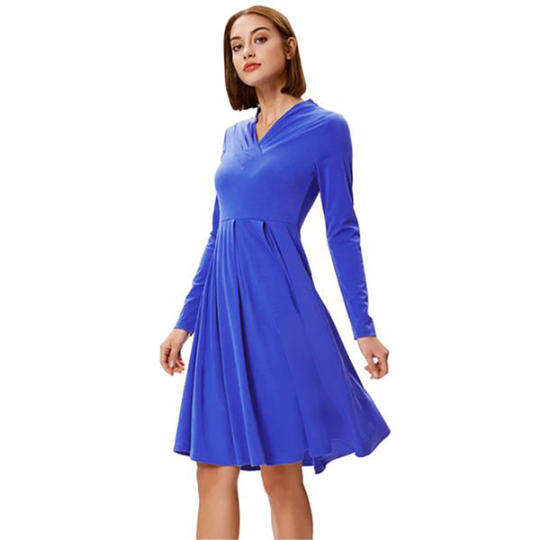 Women's Solid Color Long Sleeve V-Neck Pleated A-Line Dress