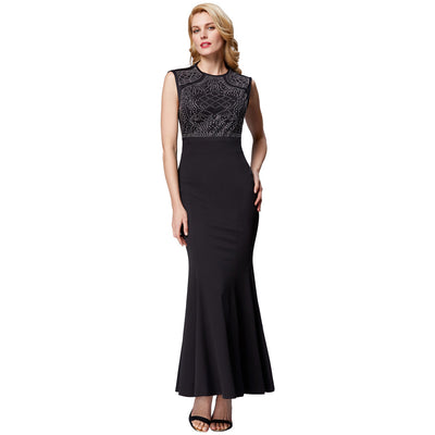 Blue and Black Hot Fix Rhinestones Decorated Mermaid Evening Dress